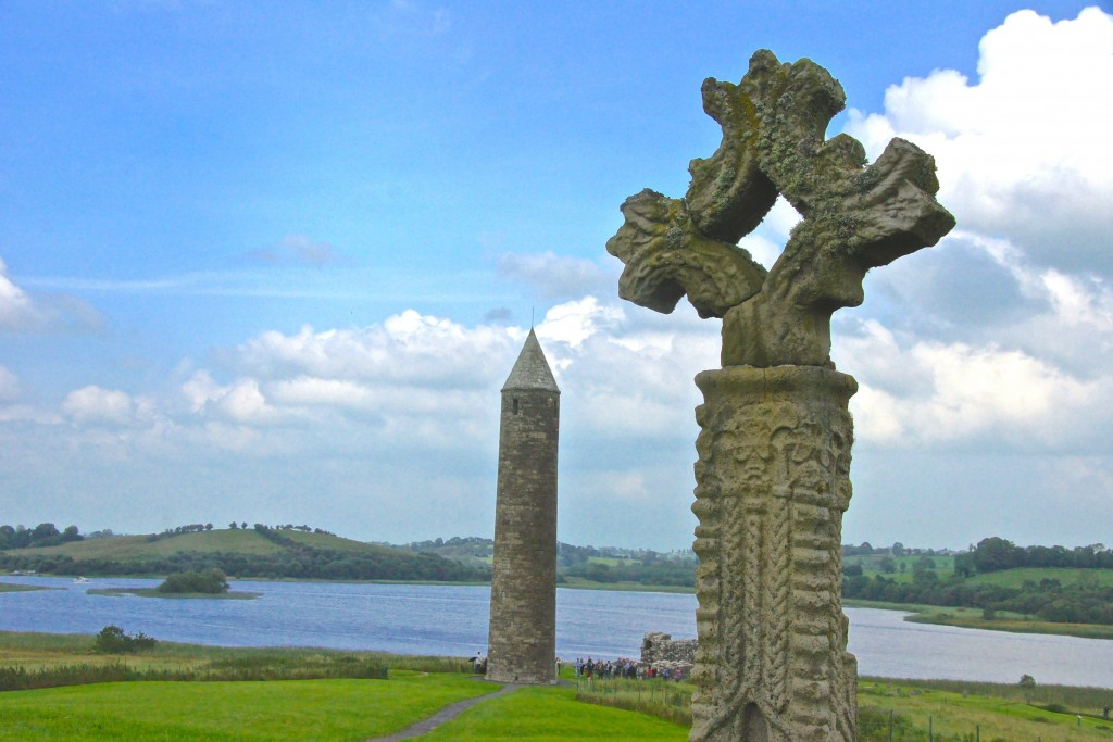 Celtic cross on Devenish Island, County Fermanagh