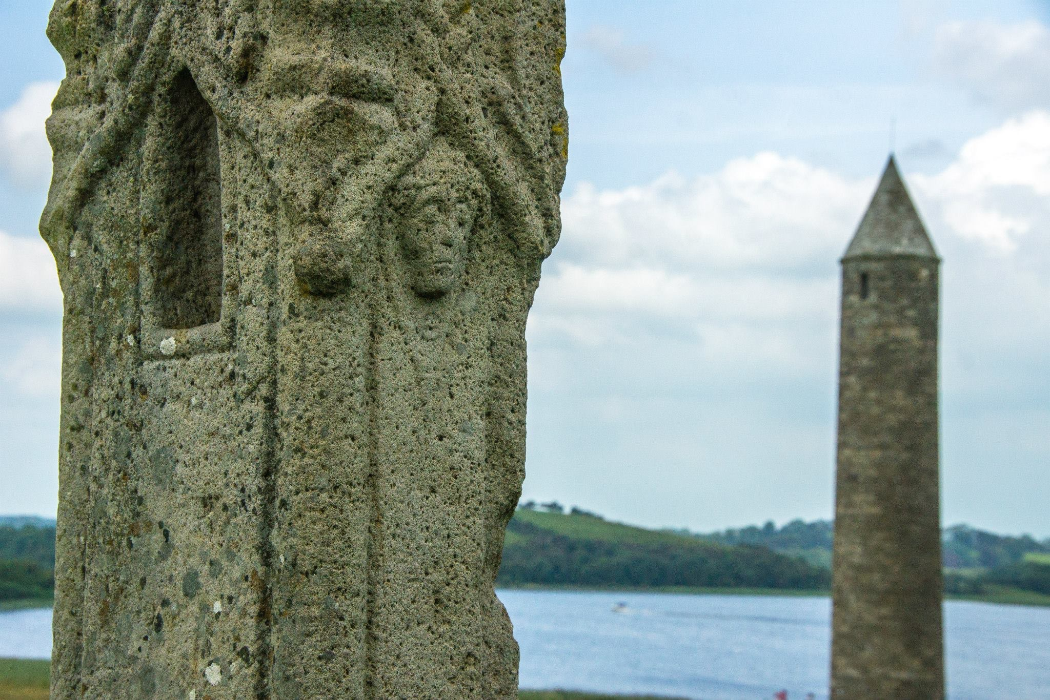 Devenish Island cross closeup and round tower.