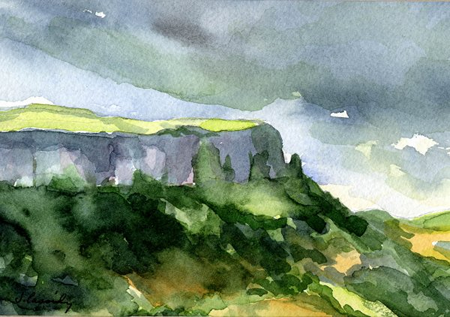 Knockmore Cliff in County Fermanagh, Northern Ireland. A water color painting by Janet Cassidy-Stroh.