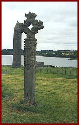 High cross on Devenish Island, photo by Brent Cassidy.